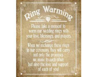 Ring Warming Printable Wedding sign - instant download digital file - Vintage Heart Collection