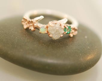 Cherry Blossom Branch,twig ring,branch ring,alternative engagement ring,wedding ring, gold twig, silver twig ring