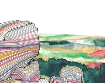 Chevin Rocks - card OR mounted print - view over Otley and the Wharfe Valley in West Yorkshire - geology / rock strata
