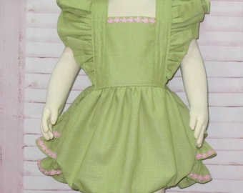 Green Romper, Baby Green Romper, Ruffle Romper, Baby Bubble Romper, Vintage Style Romper, Toddler Romper, Smash Cake Outfit, Baby Romper
