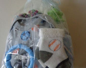 Baby shower gift, Baby bottles, crocheted cozies, onesie, 0-3 size.  toy, teething ring, wash cloth, bib. socks,
