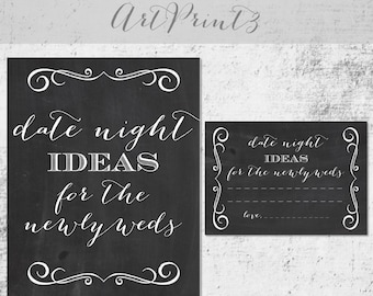 Date Night Ideas Printable, Chalkboard Printable Bridal Shower Date Night Idea Cards Sign, Bridal Shower Activity, Date Night Idea Printable