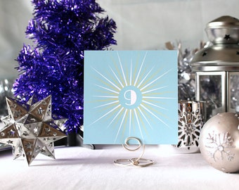 Winter Retro Star Wedding Table Number Romantic Christmas Party Snow Art Deco 1950's New Year's Eve- Blue