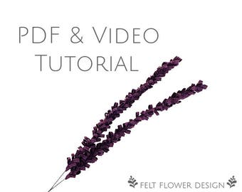 Flower tutorial - lavender - PDF tutorial - felt