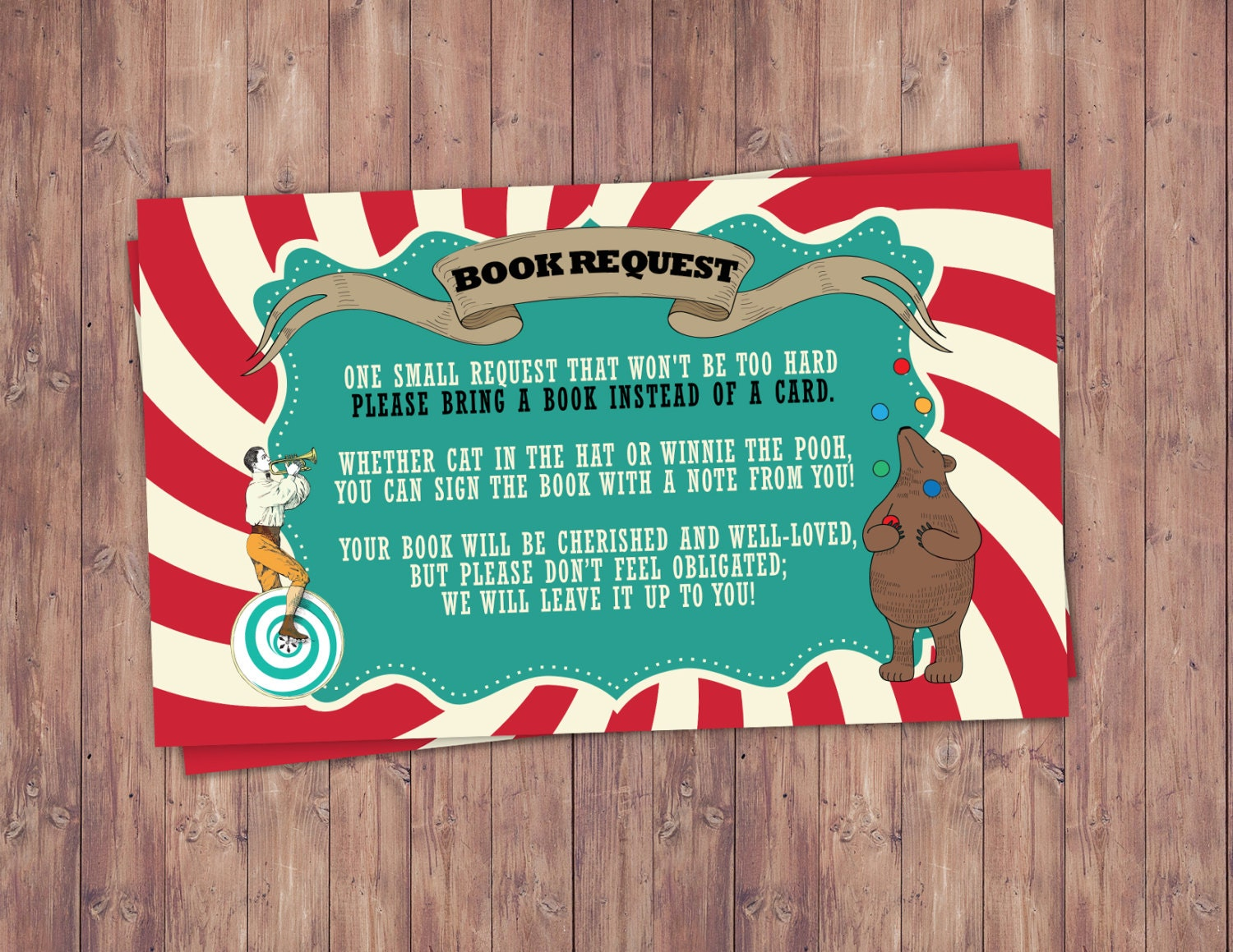 CIRCUS Baby Shower book request Invitation Carnival baby shower