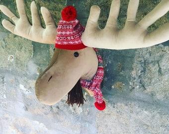 HUGE Moose faux taxidermy wall mount