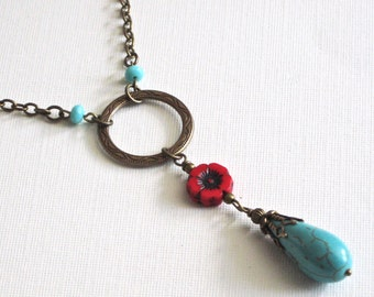 Turquoise and Red Necklace - Brass Necklace, Southwest Jewelry, Long Necklace