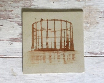 handmade tile with screen printed image of London gasworks (coaster with gasometer). made to order