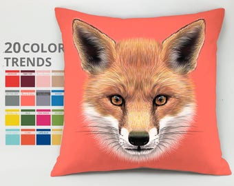 Fox pillow case Cushion case Decorative pillow Throw pillow cover Gift for kids Animal pillow tod pillow she-fox pillow slyboots pillow