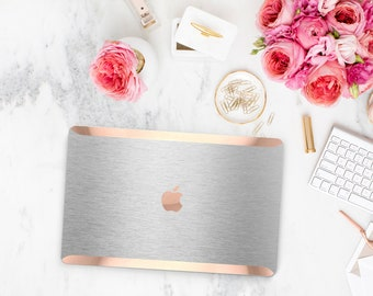Macbook Pro 13 Case Macbook Air Case Laptop Case Macbook Case . Brushed Aluminum and Rose Gold Chrome Edge             - Platinum Edition