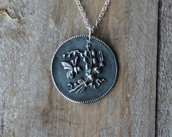 Bee and flowers - pollination fine silver oxidized pendant