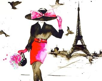 Parisian Illustration, Paris Art Print, Fashion Watercolor Painting by Lana Moes, Paris Wanderlust Poster, Chanel Decor, Pink and Black