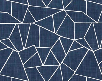 "Two 96"" x 50""  Custom Curtain Panels  - Geometric Puzzle - Navy Blue"