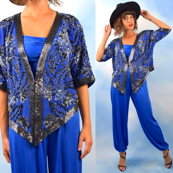 Vintage 80s 90s Royal Blue Sequined and Beaded High Low Short Sleeved Jacket (one size fits most)