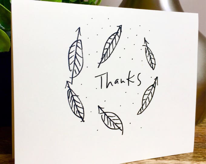 Leaf card, thank you card set unique style, simple thank you card, handlettered stationery, You rock thanks, nature thank you cards