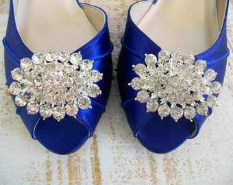 Wedding Shoes  - Blue Wedding Shoes - Handmade Wedding Shoes - Crystal -  Badgley Mischka -Choose From Over 100 Colors - Wide Size Available