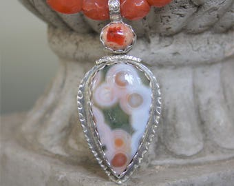 Ocean Jasper Pendant Necklace with Mexican Cantera Opal on beaded carnelian necklace