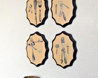 Kitchen Wall Art, Collaged Art, Dark Purple, Dining Room Walls, Kitchen Walls, Whimsical Art, Restaurant Decor, Silverware Art,  4