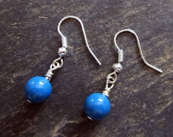Blue Earrings for Summer, Simple Small Swarovski Pearls, Ocean Blue Jewelry for Her, Everyday In Fashion Jewelry, Lightweight Earrings