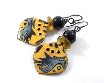 Handmade Earrings,  Enameled Earrings, Black Annealed Earrings, Yellow Earrings, Artisan Earrings, Boho Chic Earrings, OOAK Earrings