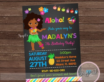 Luau Party Invitation, Luau Birthday Invitation Chalk, Luau Girl Birthday Party Invitation, Hawaiian Party Invitation, Digital File