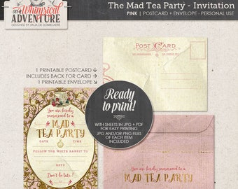 Alice In Wonderland tea party invitation, party printables, printable collage sheet, tea party, vintage mad tea party digital download