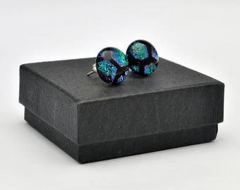 Hexagonal dichroic stud earrings