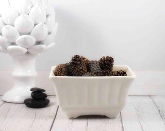 ceramic planter,planter,white planter,pottery,flower pot,flower pots,mid century pot,planter,ceramics and pottery,white pottery,