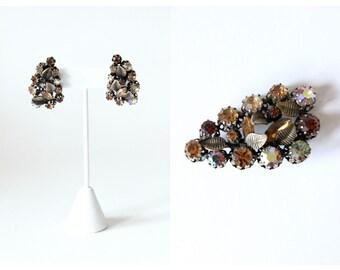 1950s Brooch & Earring Set / Vintage Made in Austria Brown Rhinestone Brooch and Clip On Earrings