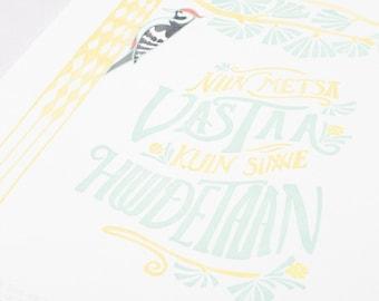 Wall Art Nouveau Letterpress Print, Finnish Saying