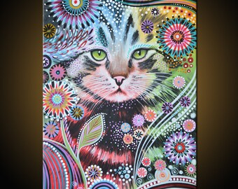 Original Abstract Painting Modern Animals Cats Cat art...18 x 24...Penny, by Amy Giacomelli You can WATCH a video of me doing this painting!