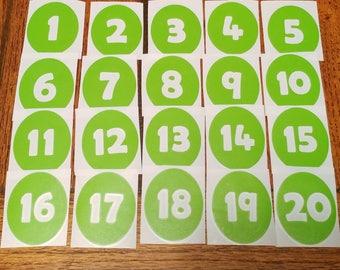 Numbers 1-20 Vinyl Floor Decals for the Classroom (Set of 20 decals)