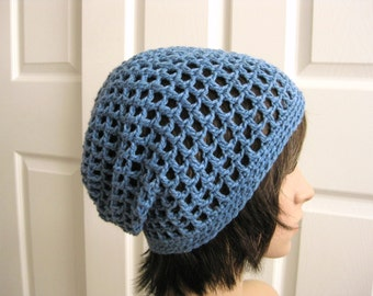 Crocheted Slouch Beanie Hat - Blue Crochet Slouchy Hat - Crochet Blue Beanie - Teenager Slouch Hat - Girls Slouch Hat - Blue Slouch Beanie