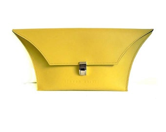 Lemon yellow Leather Clutch Bag