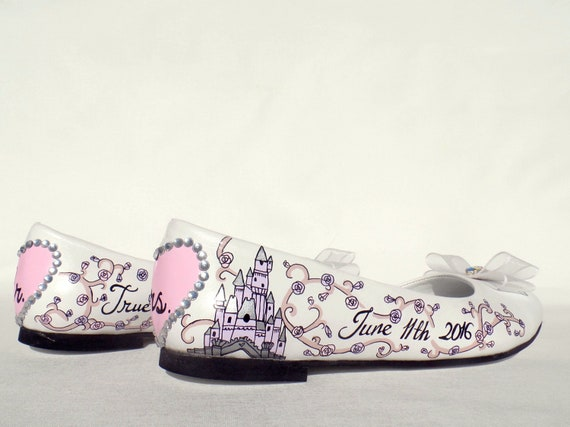 Hand Wedding Tale Custom Fairy Pink Flats Bridal Painted Shoes Lilac qIwxvYF