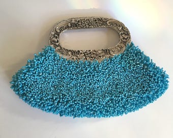 Silver & Turquoise Beaded Bag Formal Evening Bag Beaded Purse 80s