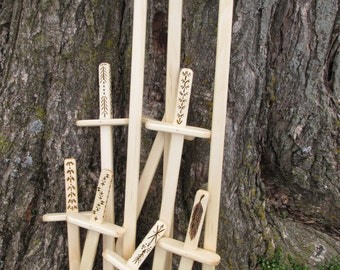 Wooden play swords/pretend swords/wood burned swords/natural play/imagination play sword/Waldorf toy