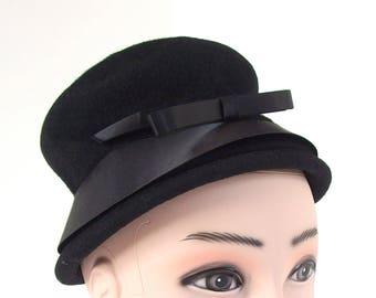 Vintage Black Cloche, Hat with Satin Ribbon Brim