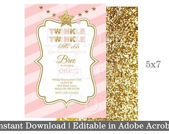 Twinkle twinkle little star first birthday invitation | Pink and gold first birthday invitation | Girl first birthday invitation