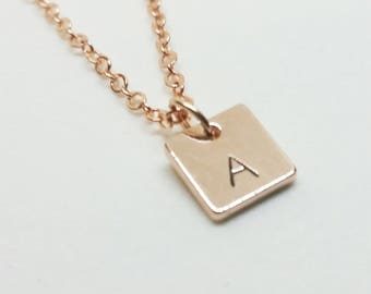 Rose Gold Hand Stamed Inital Necklace