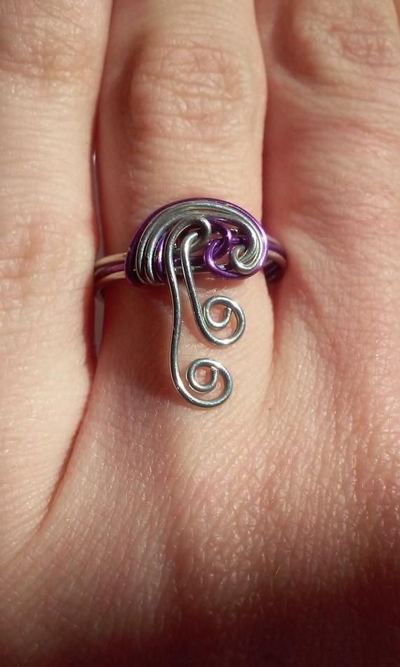 Draht-Quallen Ring lila Ring Draht Schmuck lila Draht Wire