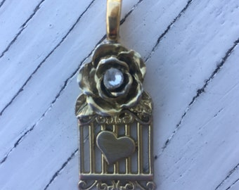 Gold Bird Cage Pendant