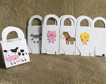 15 Farm animal party favor boxes. Perfect for birthday parties. Free Shipping. Pig, cow, horst, chick, lamb