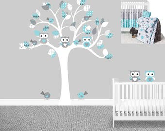 SALE Owl tree wall decal Gray Sweet JoJo Designs Earth and Sky Boyu0027s nursery decals Owl stickers Baby boy wall decals Chevron  sc 1 st  Etsy & Owl wall decal | Etsy