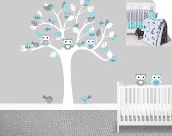 SALE Owl tree wall decal Gray Sweet JoJo Designs Earth and Sky Boyu0027s nursery decals Owl stickers Baby boy wall decals Chevron  sc 1 st  Etsy & Owl nursery decal | Etsy