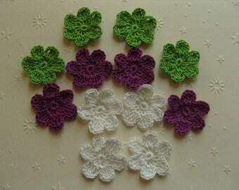 Flowers, flowers 12 cotton crochet appliques