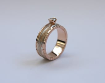 9ct red gold and sterling silver Mokume Gane engagement ring