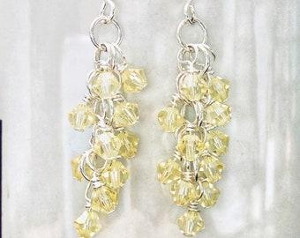 Jonquil Yellow Swarovski Crystal Cluster  Beads Earrings
