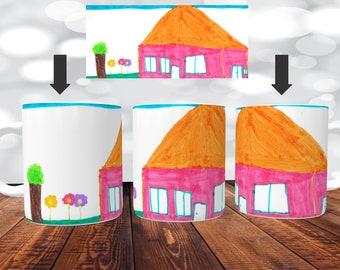 Mug dessin d'enfant - Impression Recto/Verso du mug - mug personnalisé dessin,mug dessin mug enfant,mug fete des mères, mug dessin d'enfant,
