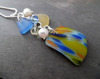 English Sea Glass Necklace Blue Yellow Beach Jewelry Sterling Pendant